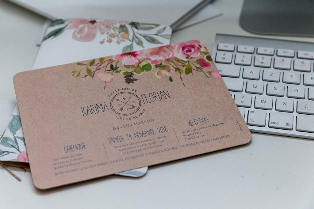 Carte d'invitation au mariage