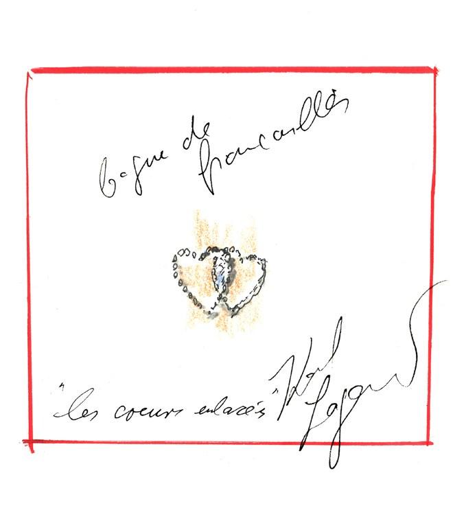 Dessin bagues de fiançailles par Karl Largefeld : La Bague des cœurs entrelacés