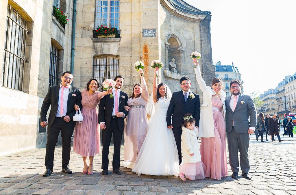 Mariage religieux -Église Saint Germain- Paris : les demoiselles et garçons d'honneur